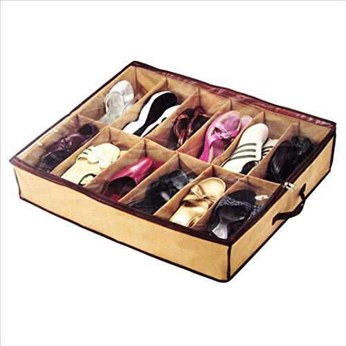 Maoviwq Caja de zapatos 12 pares de cajas de almacenamiento para debajo de la cama, armario, cestas de almacenamiento para zapatos de mujer y hombre