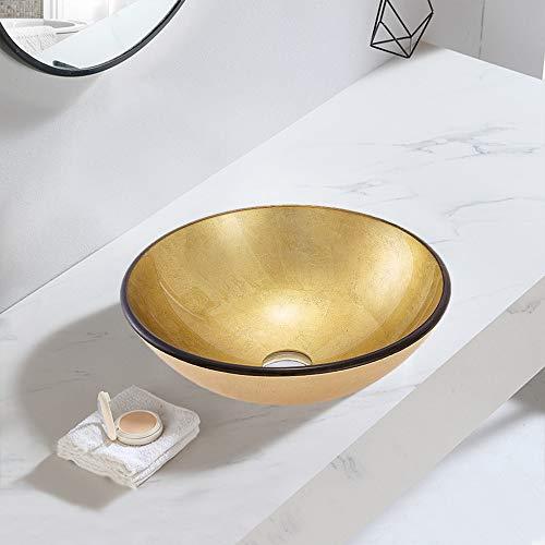 chicstyleme Lavabo de baño redondo de vidrio templado para encimera, fregaderos de un cuenco, 29,7 cm, color dorado