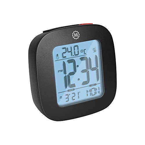 Marathon Small Compact Alarm Clock with Repeating Snooze, Light, Date and Temperature. Batteries Included. Marathon Travel Collection - CL030058BK (Black)