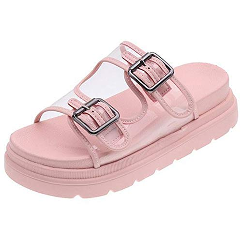 MYW Modieuze En Veelzijdige Transparant Dikke Bottom Beach Open-teen Sandalen Antislip Casual Slippers