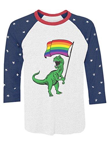 T-Rex Pride Parade Gay & Lesbian Rainbow Flag 3/4 Sleeve Baseball Jersey Shirt Small Stars
