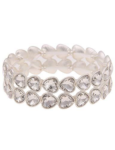 Leslii Damen-Armband Funkel-Herzen Herz-Armreif Statement-Armband Armschmuck silbernes Modeschmuck-Armband Silber Weiß