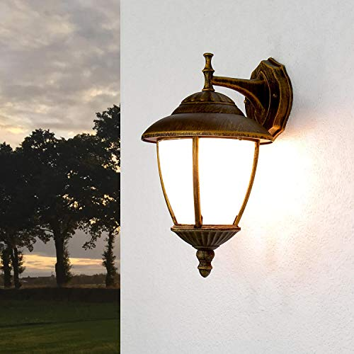 Wand Außenleuchte mit Alabasterglas IP43 E27 230V down aus Aluguss Außenlampe Wandleuchte Wandlampe Beleuchtung Hof Garten Antik