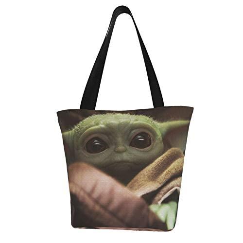 Wars Baby Yo-Da - Bolsas de lona con cremallera y bolsillo interior, reutilizables, bolsas de compras de algodón para regalo, arte divertido, cosplay, viajes