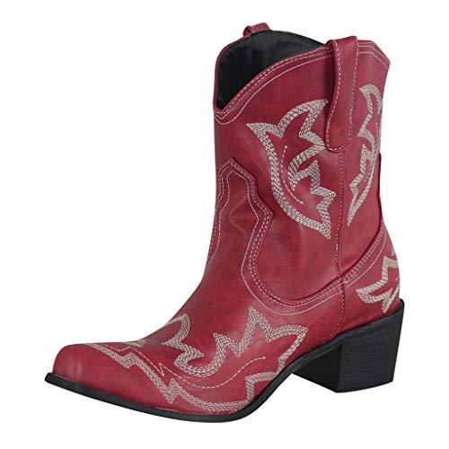 Stivali Invernali Donna Scarpe da Neve Stringati Pelliccia Caldo Snow Boots Caviglia Stivaletti Piatto Outdoor Stivali Scarpe con Tacco Basso Cowboy Knight (38,Rosso)