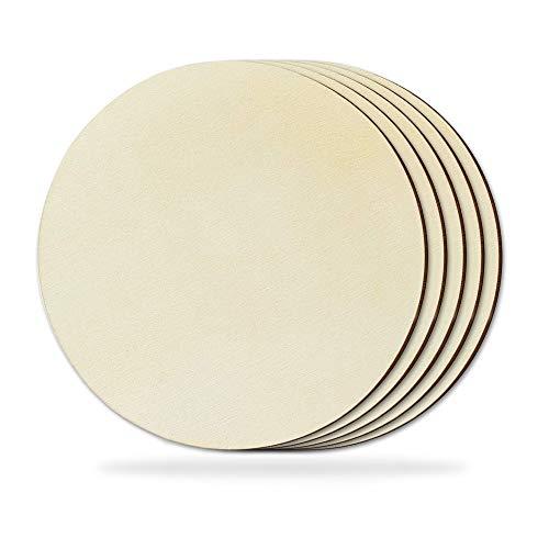 5 cerchi in legno da 20 cm per lavori artigianali, placca rotonda in legno non finita, ritagli in legno per la pittura di porte