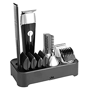 Abbicen New 5 in 1 Multi-functional Beard Trimmer Men s Grooming Kit Dual Shaver Body Trimmer Precision Nose & Ear Trimmer Waterproof Recharqeable Cordless  Black