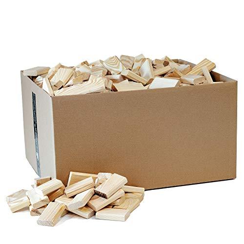 Floranica® 20kg Holzblöcke Holzstücke Holzklötze Anfeuerholz Anmachholz Brennholz Anzündholz für Kamin Ofen Feuerschalen Lagerfeuer - fein geschliffen und trocken, Menge:20 kg
