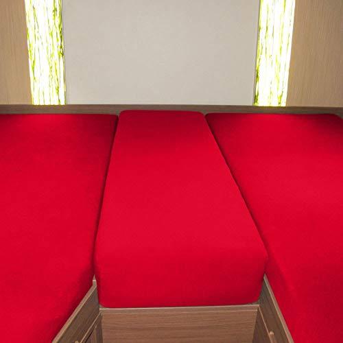 G Bettwarenshop Wohnmobil Wohnwagen Heckbett Spannbetttuch-Set 3-teilig rot, 2 Längsbetten + Mittelteil