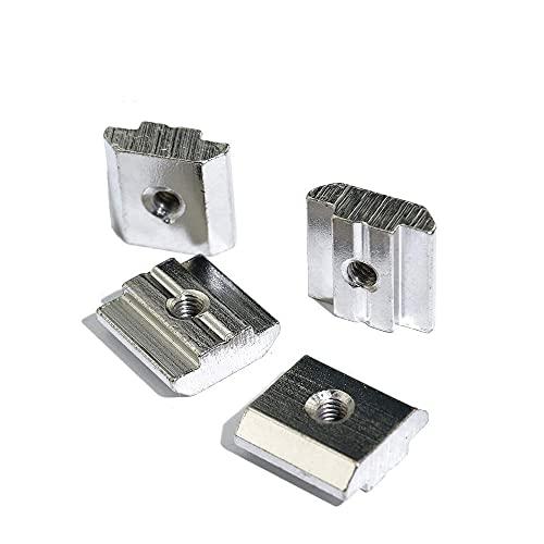 50 Uds 100 Uds/lote T tuerca de martillo deslizante bloque tuercas cuadradas M3 M4 M5 M6 M8 2020 ranura de perfil de aluminio placa recubierta de zinc accesorios-30S-M8 50 Uds