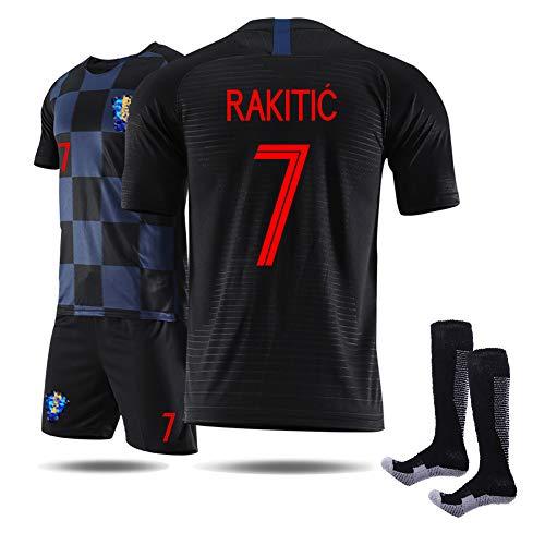 Fußballbekleidung für Männer, Modric Mandzukic Kramaric Rakitić Fußballfan Jersey Kit, Uniform-Set für die WM 2018 in Kroatien (Heim und Auswärts), T-Shirt & Shorts & Socken-Away No 7