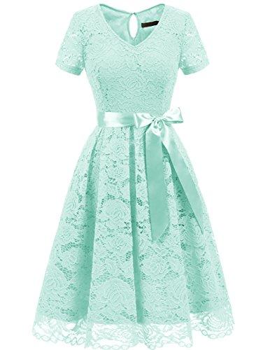 DRESSTELLS Damen Elegant Abendkleider für Hochzeit Herzform Spitzenkleid Cocktail Party Floral Kleid Mint 2XL