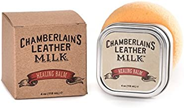 Leather Conditioner, Scratch Repair | Leather Milk Healing Balm - Heals & Restores Dry, Cracked, Scratched Leather | All-Natural, Non-Toxic, Cosmetic Grade | Made in USA | Includes Absorption Sponge