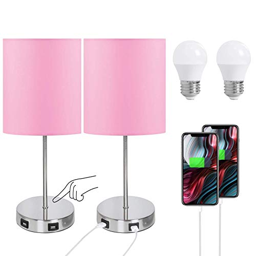 Par de lámparas de mesa USB doble, lámpara táctil con 2 puertos de carga USB, pantalla de tela redonda rosa con base de metal, 3 vías regulables, color rosa