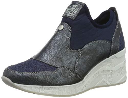 MUSTANG Damen 1319-401-983 Slip On Sneaker, Blau (Navy/Glitzer 983), 37 EU