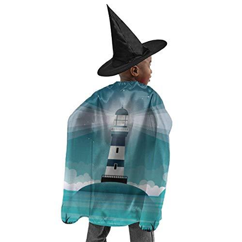 meilie Deluxe Halloween Kinder Kostüm Leuchtturm Illustration Zauberer Hexenumhang Cape Robe und Hut Set