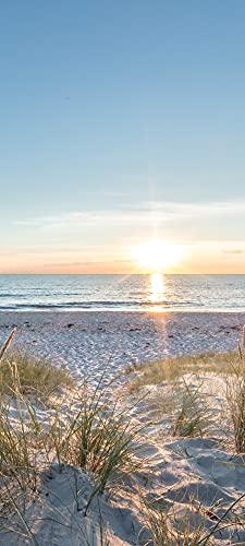 POSTEROASE | Türfolie selbstklebend 3D Türposter 88x200cm | Türtapete Ostsee Strand Beach Wald - Aufkleber Meer door - Fototapete