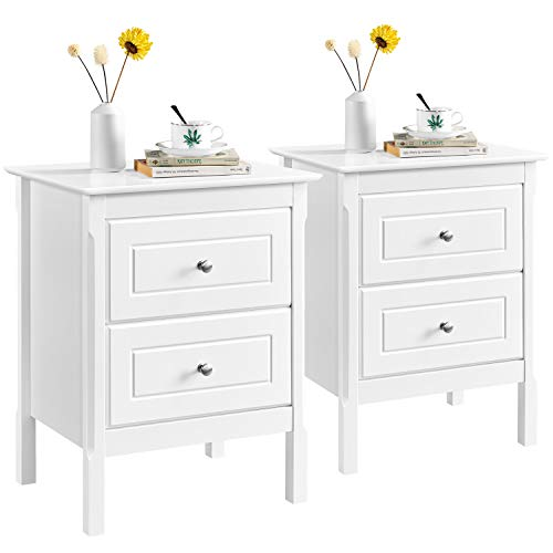Yaheetech White Bedside Table Set of 2 Sofa Side End Table Corner Table with 2 Drawer Bedroom/Living Room Furniture 48 x 40 x 61cm