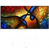 LEPOTN Pintura al óleo Abstracta Grande Pintada a Mano en Lienzo Cuadros Modernos de la Pared de la línea de Graffiti para la Sala de estar-90 * 150cm