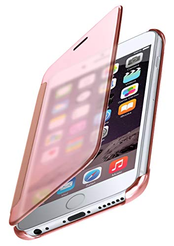 MoEx® Dünne 360° Handyhülle passend für iPhone 6S / iPhone 6 | Transparent bei eingeschaltetem Display - in Hochglanz Klavierlack Optik, Rose-Gold