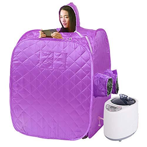 YJF-MRY Steam Sauna - Cabina De Sauna De Vapor Portátil Mini Sauna De Vapor De Cuerpo Completo Móvil, Cabina De Sauna Plegable Personal, SPA En Casa para Bajar De Peso con Control Remoto,Púrpura