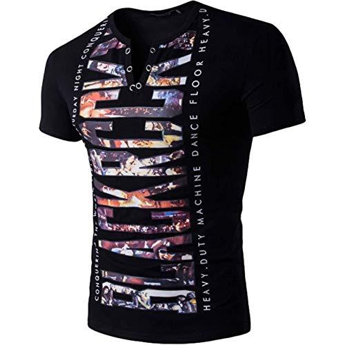 Camiseta de Manga Corta Estampada Entallada Informal para Hombre, Color de Personalidad, Tendencia a Juego, cómodo Jersey de Moda de Verano XL