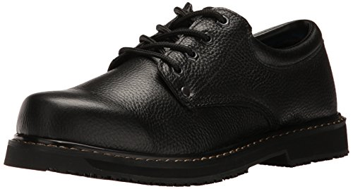 Black Leather Work Shoes for Men