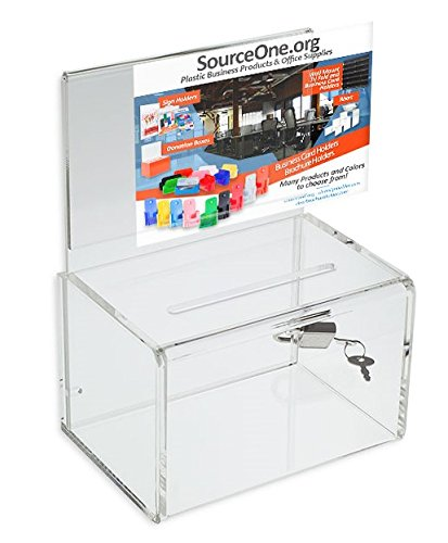 Source One Small 5-Inch Wide Deluxe Oblong Donation Box with Ad Frame & Free Lock