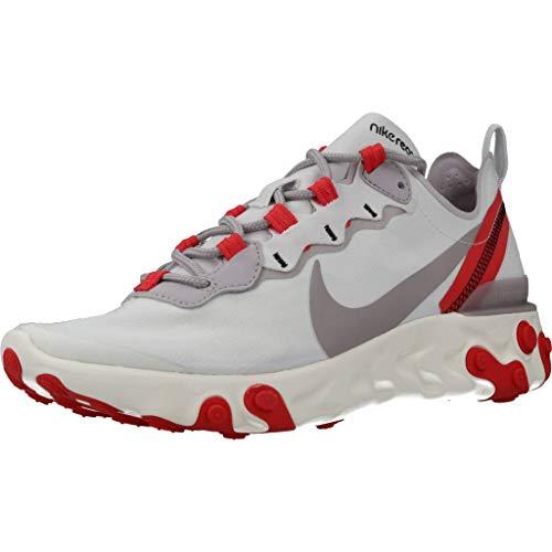 Nike W React Element 55, Zapatillas para Caminar para Mujer, Platinum Tint/Silver Lilac-Track Red, 44 EU