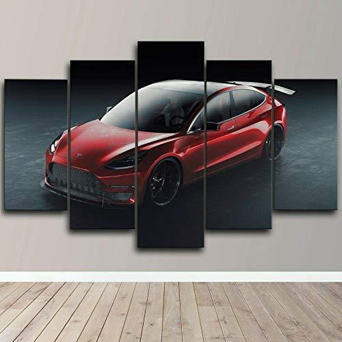 Cuadro sobre Impresión Lienzo 5 Piezas - Cuadros en Lienzo Coche Deportivo Rojo eléctrico Tesla 5 Piezas con Marco Dormitorios Decoración para El Hogar -Cuadro Pared Salon Abstracto-Listo para Colgar