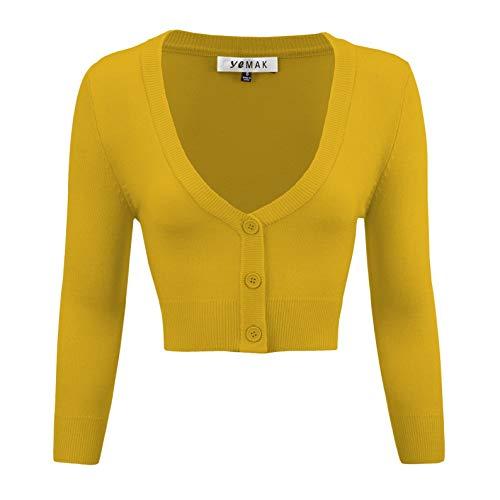 YEMAK Women's Cropped Bolero 3/4 Sleeve Button Down Cardigan...