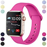Hamily Correa Compatible con Apple Watch 38mm 40mm, Correa de Repuesto de Silicona Suave para Apple Watch Series 5/4/3/2/1, S/M, Nueva Rosa