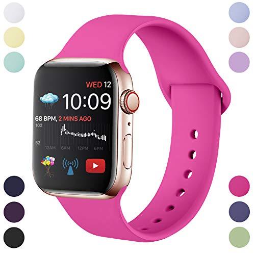 Hamily Armband Kompatibel für Apple Watch 38mm 40mm, Weiche Silikon Wasserdicht Ersatz Uhrenarmbänder für Apple Watch Series 5/4/3/2/1, S/M Neues Rosa