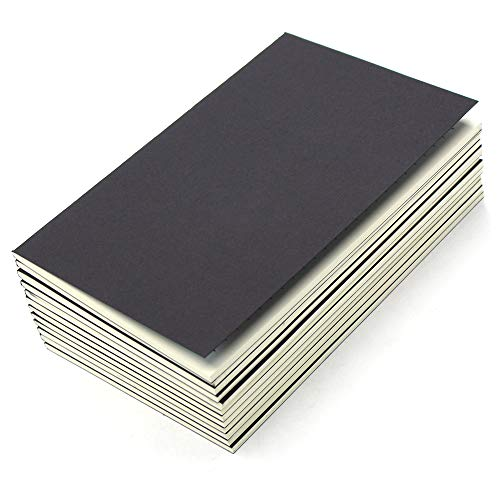 M-Aimee 12 Pack Journal Notebook Kraft Black Cover Lined Notebooks for Travelers - A5 Size - 5.5 x 8.3 Inches - 80 Lined Pages/ 40 Sheets