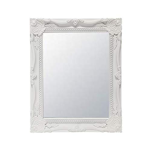 Clic-And-Get Specchio Muro Parete Specchio Antico Ornamento Barocco Rettangolare Nero Bianco Angolare - bianco