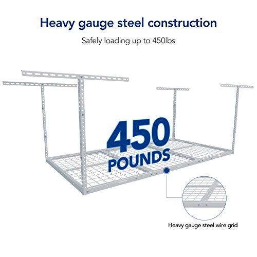 "FLEXIMOUNTS 3x6 Overhead Garage Storage Adjustable Ceiling Storage Rack 72"" Length x 36"" Width x 40"" Height (White)"