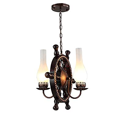 BAYCHEER HL449361 Industrial Vintage 2 Lights Chandelier Pendant Light Hanging Lamp Celling Lighting Fixture with Nautical Style Vase Frosted Glass Shade Use E26 Bulb in Bronze Finish