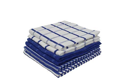 Paños de Cocina 100% Algodón, Toallas de Rizo 50x50 cm, Trapos Absorbentes, Suaves y Resistentes 400-450 gr. (Azul, 6)