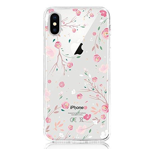 Oveo® kompatibel mit iPhone X/XS Hülle, Dolce Vita Serie Transparente Silikon Handyhülle Accessoires für Damen/Mädchen, Durchsichtig mit Rosa Rose Pink Blumen Muster