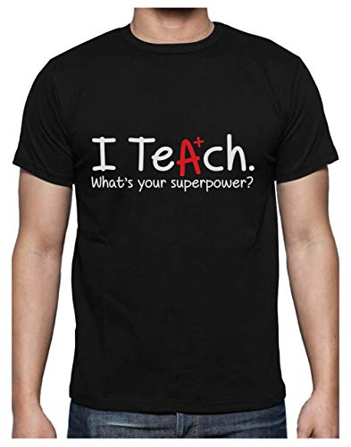 Green Turtle T-Shirts Camiseta para Hombre - Regalo para Profesor - I Teach Whats Your Superpower? XX-Large Negro