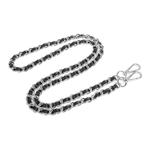 Schultergurt Umhängetasche Silber überzogene Kette PU-Leder Braid Ersatz Schultergurt für DIY-Geldbörsen Handtaschen - Silber + Schwarz, one size
