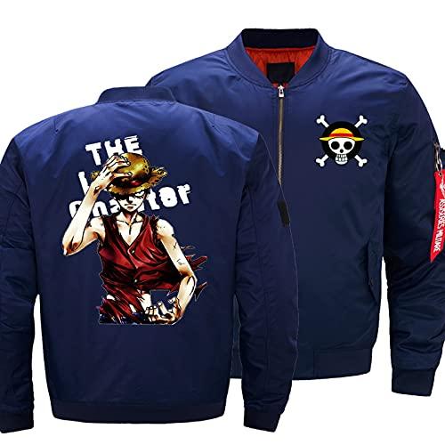 Herren Jacke 3D Luffy Druck Leicht Casual Full Zip Jacken Baseball Sportswear Top - Jugendgeschenk C-Medium