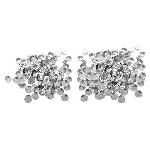Colcolo 300 Uds Tazas de Aluminio Vacías para Velas de Bricolaje Caja de Contenedores de Cera 38x14mm