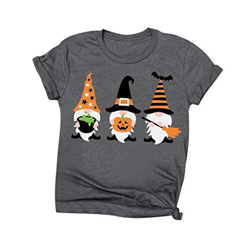 Women Blouse Breathable T-Shirt Stylish 3D Halloween Print Crewneck Tops Tee(Dark Gray,2XL)