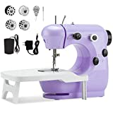 Beginner Sewing Machine with Extension Table,Midvalley Handheld Sewing Machine for Kids,Mini Sewing Machine with Dual Speed,and Double Thread,Electric Hand Sewing Machine for Crafts Household