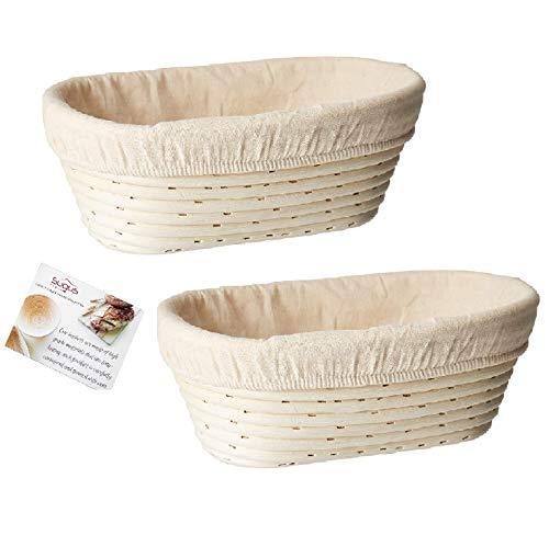 Set of 2 Oval (9.8 x 6 x 3.5 inch) Banneton Proofing Basket & Liner SUGUS HOUSE Brotform Dough Rising Rattan Handmade rattan bowl-Perfect For Artisan
