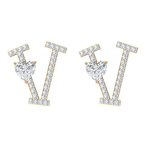 Rosec Jewels 14 quilates oro amarillo round-brilliant-shape heart-shape H-I Diamond