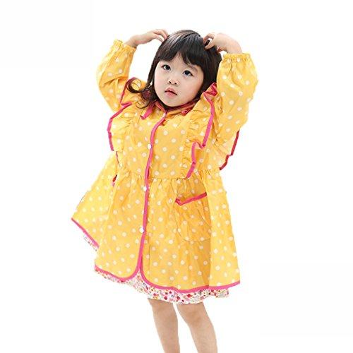 Vestes anti-pluie QFF Child Raincoat Girl Princess Long Section Poncho Enfant Bébé Big Hat Along Student Rain Gear (Couleur : Le Jaune, Taille : M)