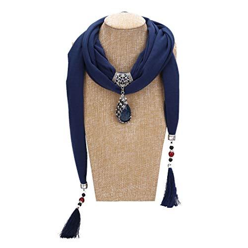 VIccoo Frauen Schal, 200x40 cm Frauen Vintage Einfarbig Ethnischen Stil Schal Wassertropfen Pfau Perle Anhänger Strass Schmuck Schal Halskette Mit Langen Quasten - Blau