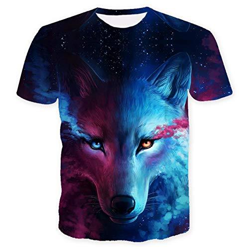 ISAAC ENGLAND Wo Licht und Dunkelheit Sich treffen T-Shirt des Wolfs 3D Top T Kurzarm Rundhals T-Shirt Mode T-Shirt 4 Color-XXL, A